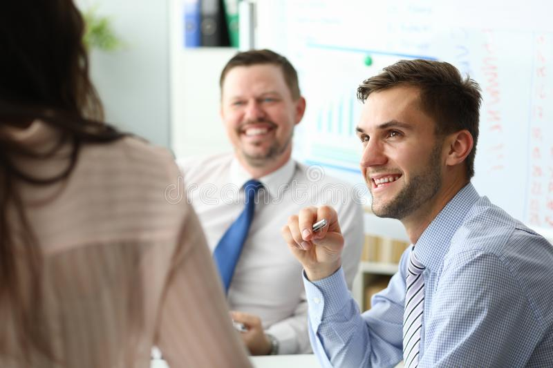 Smart business workers royalty free stock image