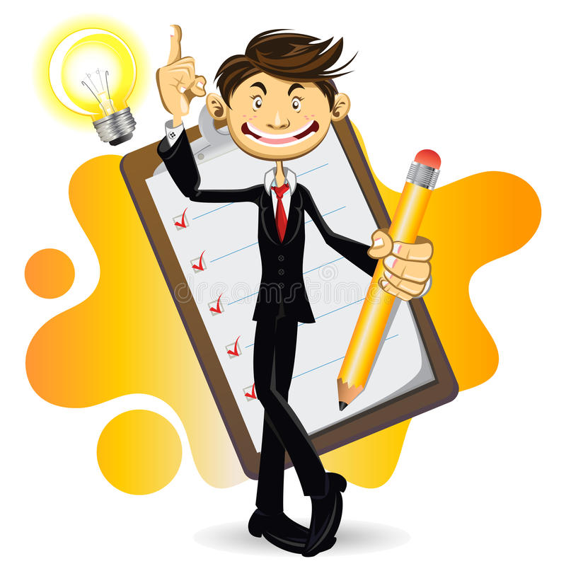 Smart Businessman Done With His Checklist vector illustration
