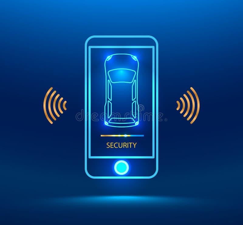 Smart car alarm system vector illustration