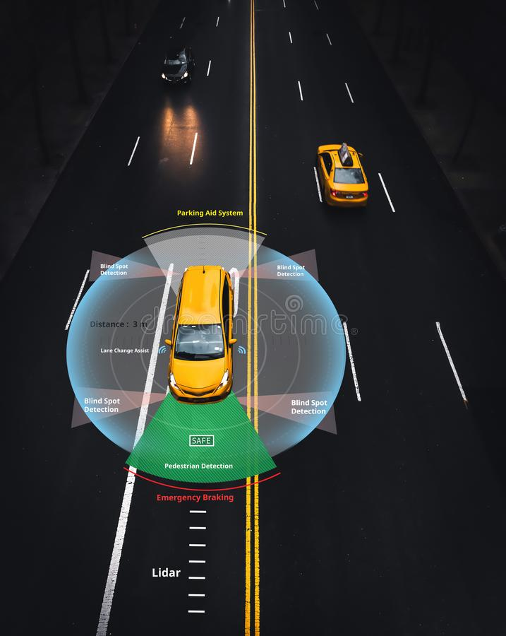 Smart car, Autonomous self-driving car with Lidar, Radar and wireless signal communication, Artificial intelligence. Technology to Identify Objects stock illustration