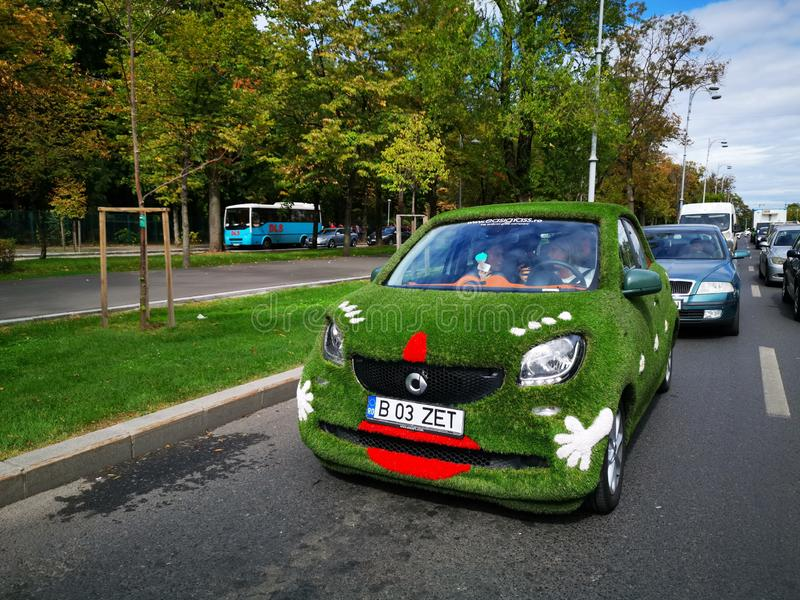 Smart car eco on the street in Bucharest, Romania. Smart is a german manufacturer of small cars and belongs to Daimler AG stock photo