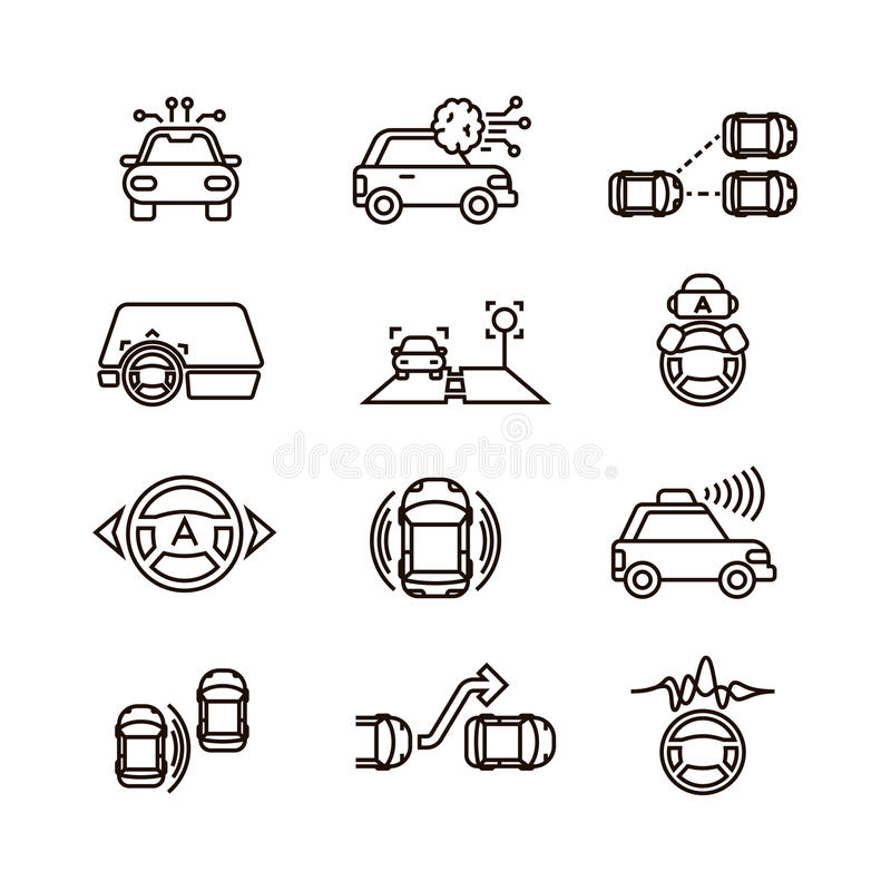 Smart car and hands free driving automatic system vector line icons royalty free illustration