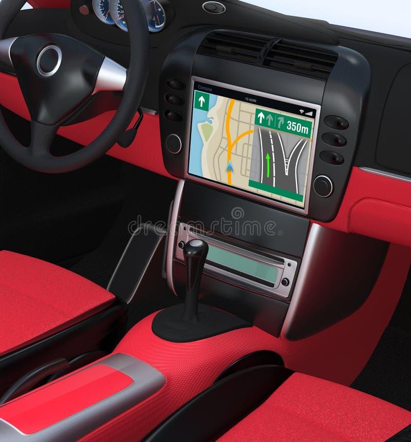 Smart car navigation interface in original design. Red interior version stock illustration