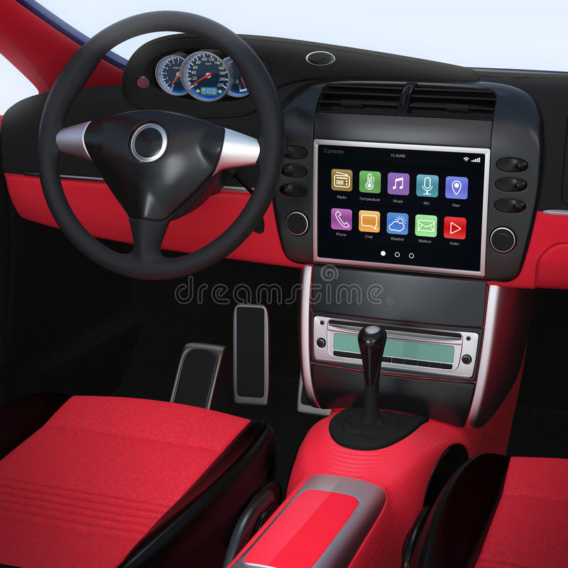 Smart car navigation interface in original design. Red interior version stock photography
