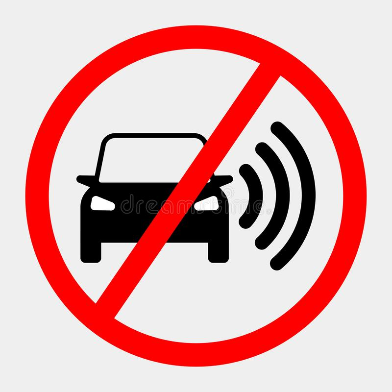 Smart car with navigation system, gps technology. Driverless vehicle with forbidden sign isolated on background. Vector flat. Design royalty free illustration