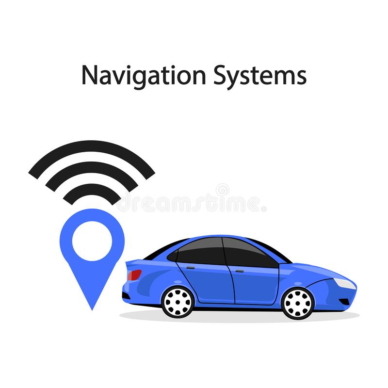 Smart car with navigation system, gps technology. Driverless vehicle isolated on background. Vector flat design.  vector illustration