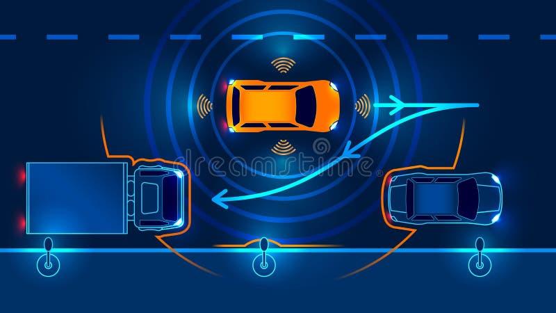 Smart car Parking Assist system stock illustration