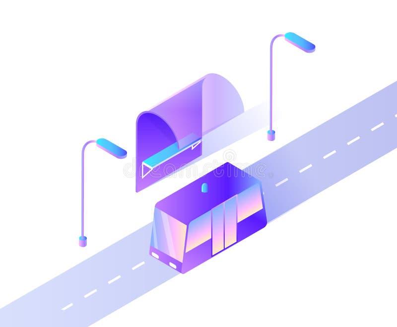 Smart Car Public Transport on City Road Street royalty free illustration