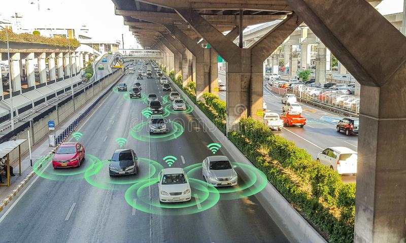 Smart car, self-driving mode vehicle with Radar signal system and and wireless communication,. Autonomous car stock images