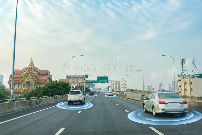 Smart car, self-driving mode vehicle with Radar signal system and and wireless communication, Autonomous. Car royalty free stock photos