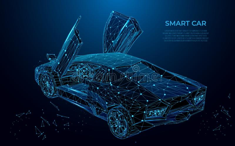 Smart Car. Sport car in the form of a starry sky or space. Cars vector wireframe concept. Polygon vector design. Poly art vector illustration