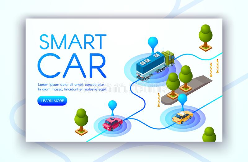 Smart car tracking technology vector illustration. Smart car technology vector illustration of vehicle location tracking or GPS radars. Transport navigation and vector illustration