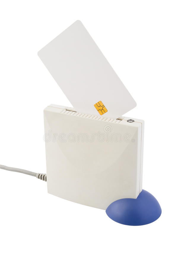 Smart card and card reader stock photo