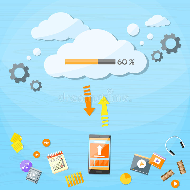 Smart Cell Phone Cloud Upload Online Internet Data vector illustration
