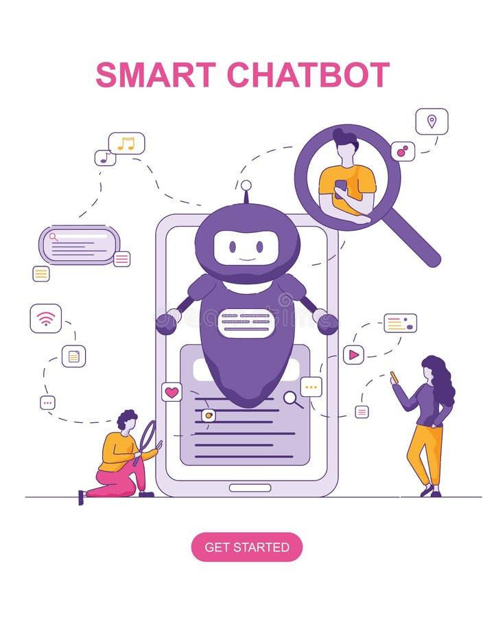 Smart Chatbot för konversationfolk som söker vektor illustrationer