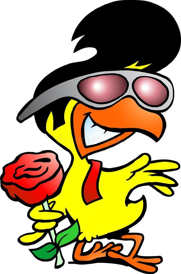 Download Smart Chicken Holding A Rose Stock Vector - Illustration of bird, illustration: 26808835