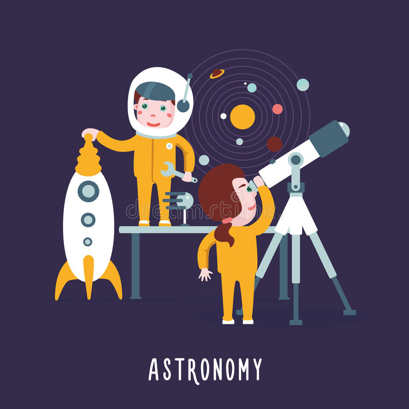 Smart children. Boy and girl are learning an astronomy. Education concept. Cartoon illustration with experimenting children stock illustration