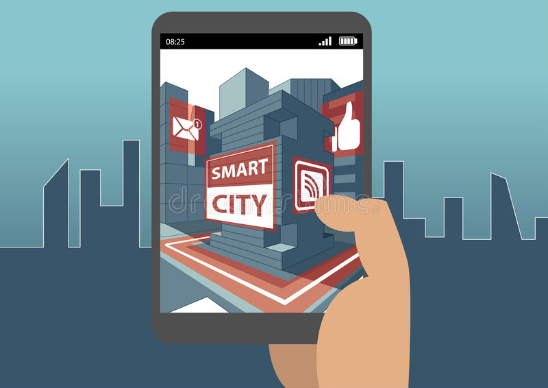 Smart city and augmented reality concept with hand holding smartphone royalty free illustration