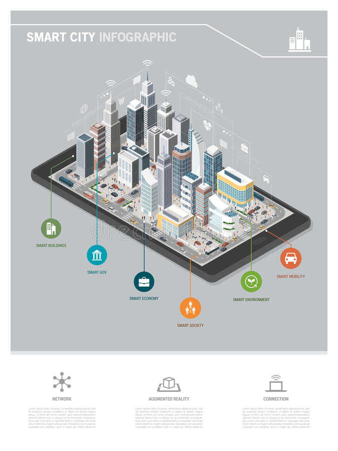 Smart city and augmented reality. Contemporary isometric smart city on a digital tablet infographic with skyscrapers, people and vehicles vector illustration