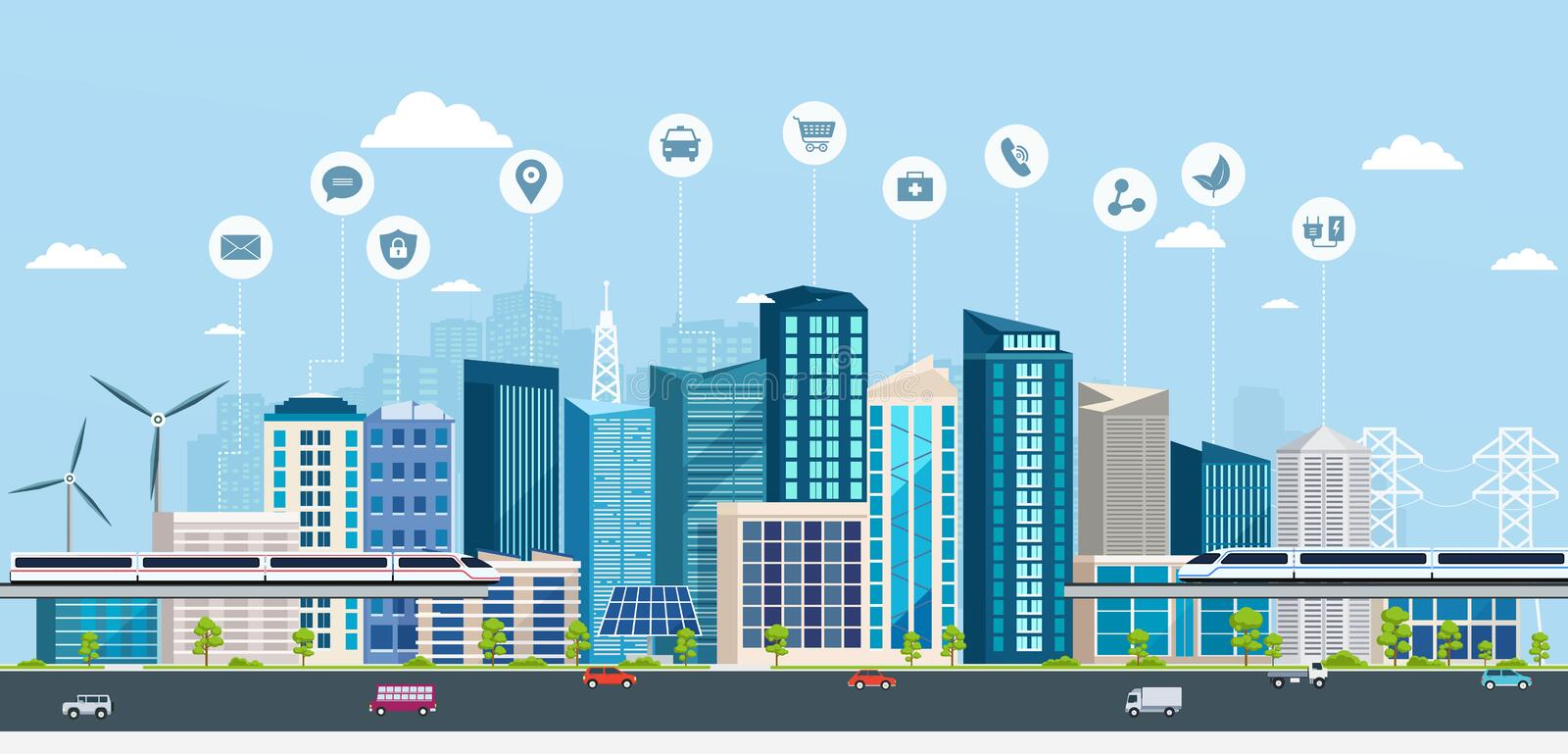 Smart City with business signs. Online concept modern city. City landscape with transport infrastructure royalty free illustration