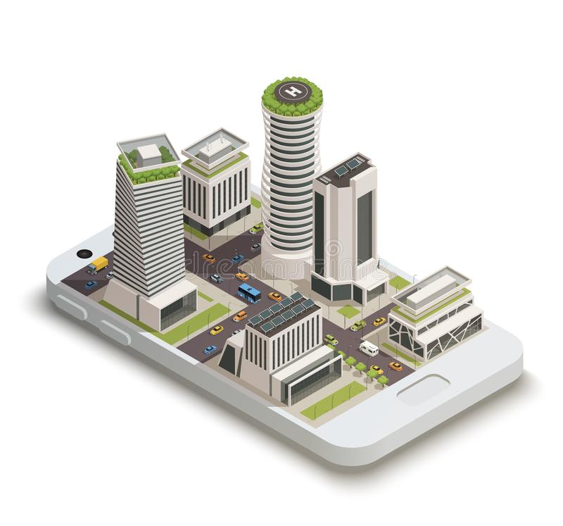 Smart City Center Isometric Composition vector illustration