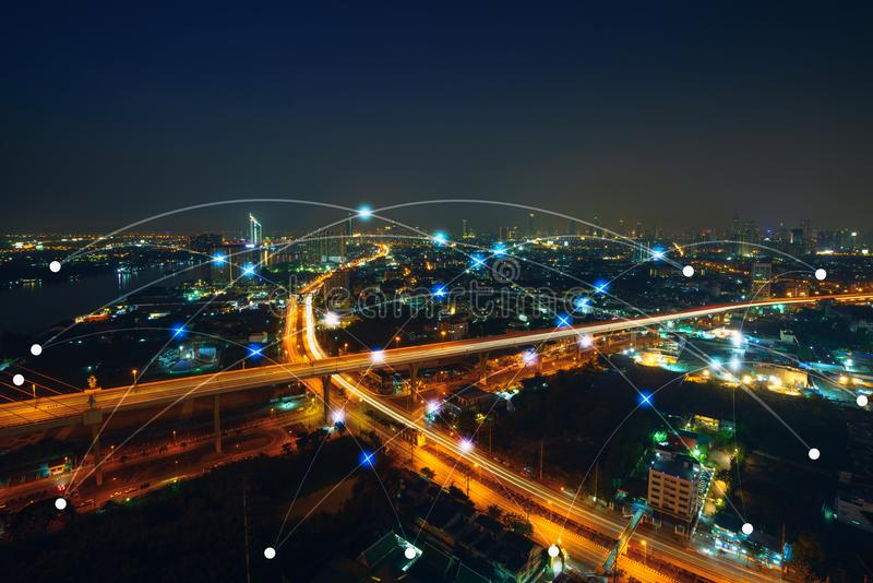 Smart city and communication network concept. Internet of thing. And mix media royalty free stock photos