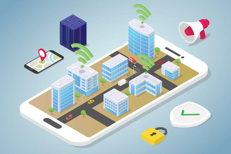 Smart city concept with big buildings and team people vehicle connected using internet wifi technology with modern flat isometric royalty free illustration