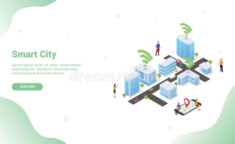 Smart city concept with big buildings and team people vehicle connected using internet wifi technology for website template. Landing homepage with modern flat royalty free illustration