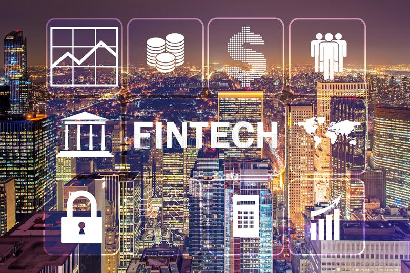 The smart city concept with fintech financial technology concept. Smart city concept with fintech financial technology concept stock photography