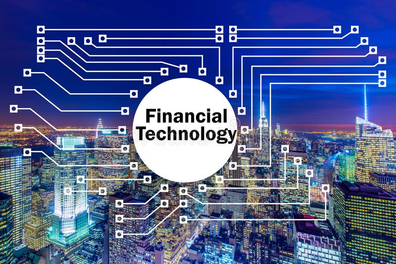 The smart city concept with fintech financial technology concept. Smart city concept with fintech financial technology concept stock image
