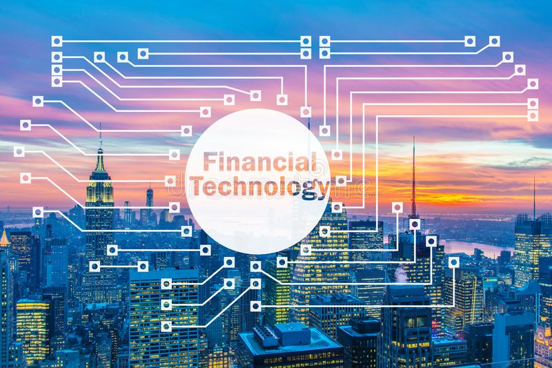 The smart city concept with fintech financial technology concept. Smart city concept with fintech financial technology concept royalty free stock images