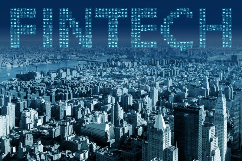 The smart city concept with fintech financial technology concept. Smart city concept with fintech financial technology concept royalty free stock photos
