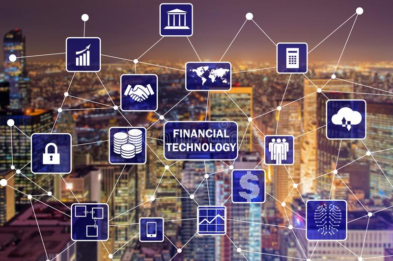 The smart city concept with fintech financial technology concept. Smart city concept with fintech financial technology concept stock photo