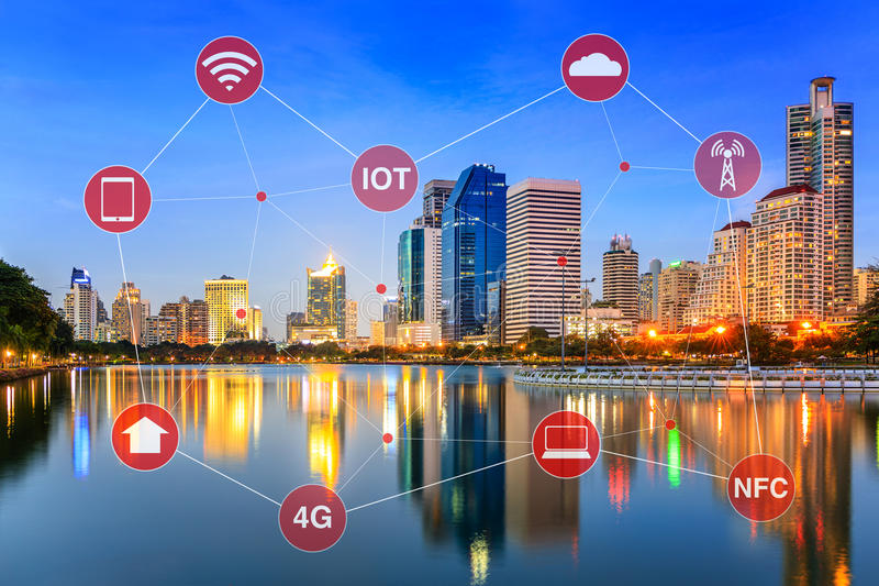 Smart City Concept Illustrated by Networking and Internet of Things or IOT. Concept of smart city illustrated by networking and internet of things or IOT royalty free stock photos