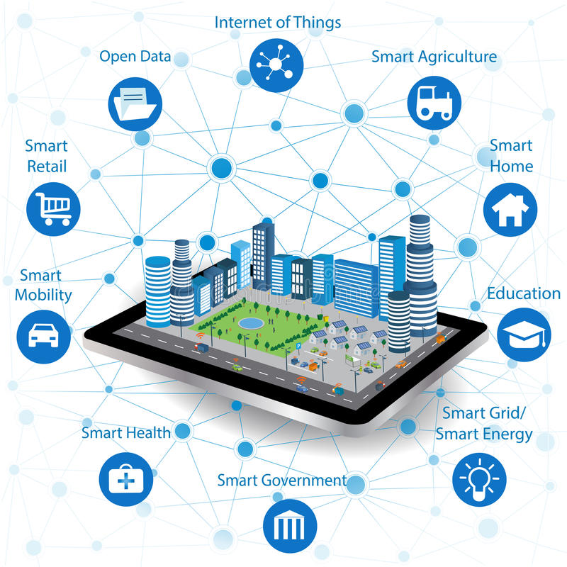 Smart city concept and internet of things vector illustration