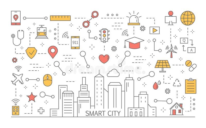 Smart city concept. Optimized infrasrtucture and futuristic lifestyle royalty free illustration