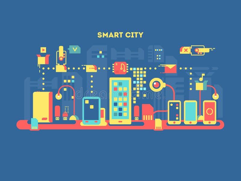 Smart city concept. Technology communication, internet computer, urban mobile digital, vector illustration vector illustration