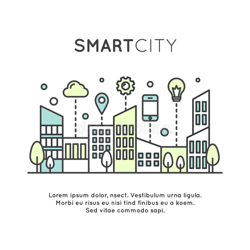 Smart City Concept and Technology,. Vector Icon Style Illustration of Smart City Concept and Technology, One Page Web or Mobile Template Composition with Cloud royalty free illustration