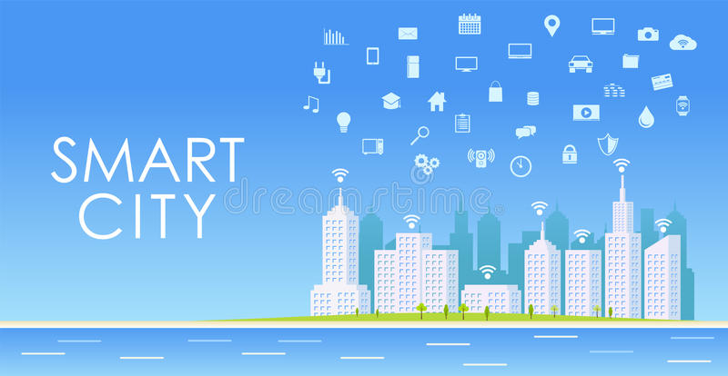 Smart city concept. Urban landscape. Internet of things stock illustration