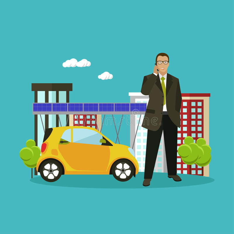 Smart city concept vector illustration in flat style. Businessman talks by smartphone. royalty free illustration
