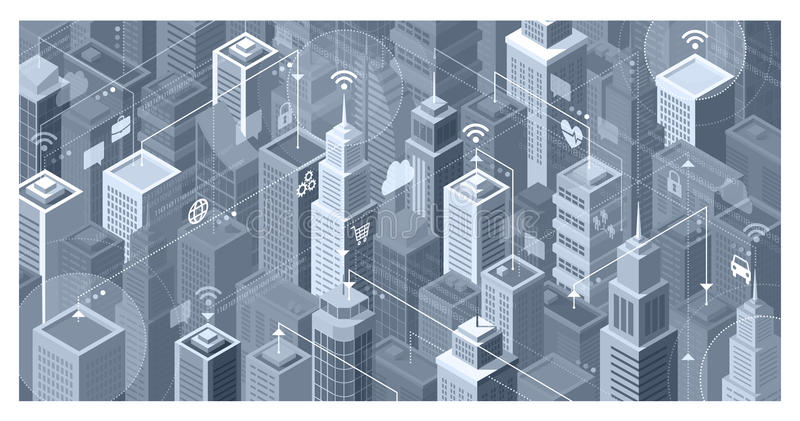 Smart city connections. Smart city with modern skyscrapers: they are connecting to the internet network, sharing data and services online vector illustration