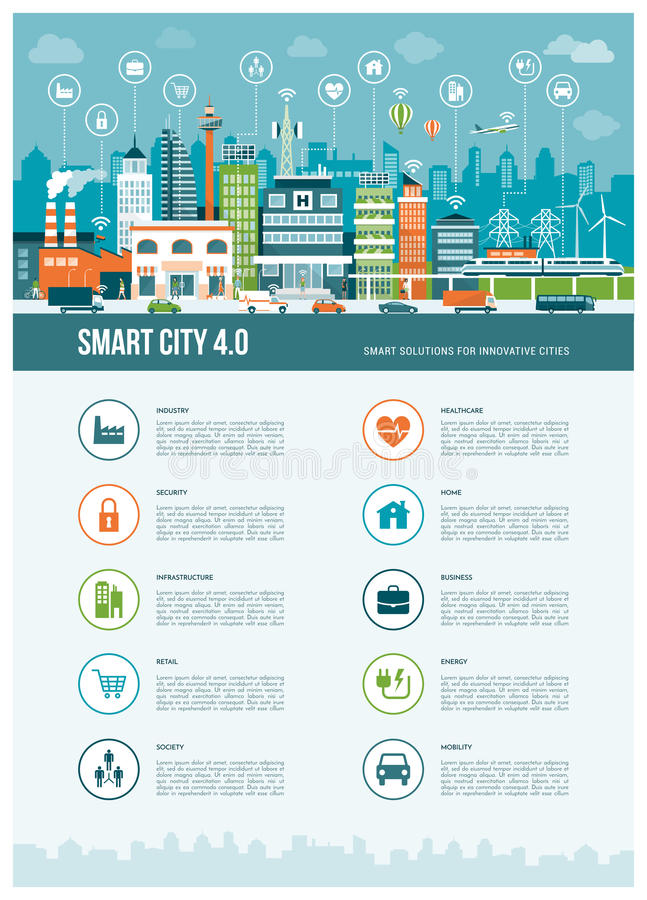 Smart city. Smart contemporary city infographics with icons: augmented reality, smart networks and internet of things concept vector illustration