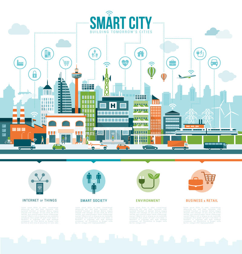 Smart city. Smart contemporary city infographics with icons: augmented reality, smart services and internet of things concept stock illustration