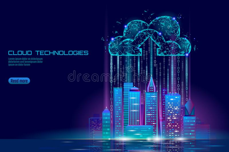 Smart city 3D light cloud computing cityscape. Intelligent building big data exchange storage online futuristic business royalty free illustration