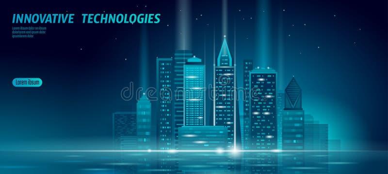 Smart city 3D neon glowing cityscape. Intelligent building automation night futuristic business concept. Web online blue. Color future technology. Urban banner stock illustration