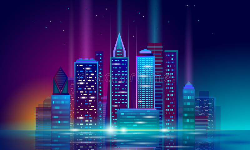 Smart city 3D neon glowing cityscape. Intelligent building automation night futuristic business concept. Web online. Vivid color cyberpunk retrowave. Urban royalty free illustration