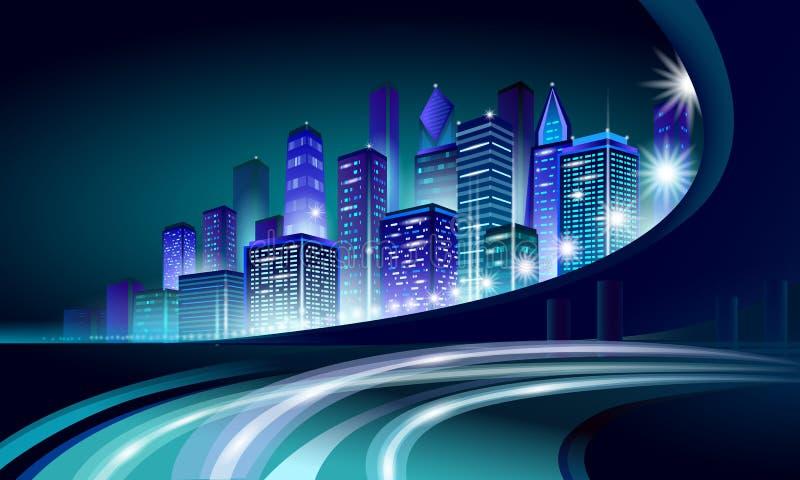 Smart city 3D neon glowing cityscape. Intelligent building automation night futuristic business concept. Web online stock illustration