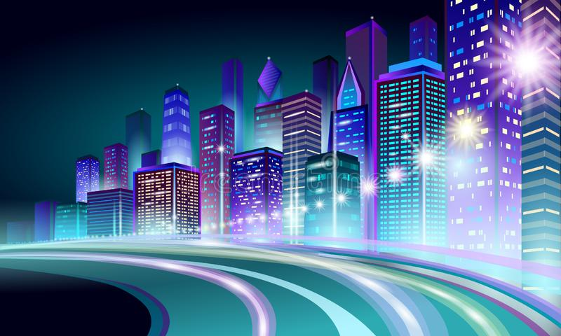 Smart city 3D neon glowing cityscape. Intelligent building highway route night futuristic business concept. Web online stock illustration