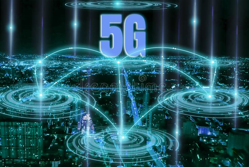 Smart City Digital 4.0 and fast and accurate high-speed 5G system with network covering all areas,support communication modern royalty free stock photo