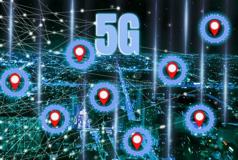 Smart City Digitale 4 0 en snel en nauwkeurig hoge snelheids5g systeem met netwerk die alle gebieden, moderne steunmededeling beh stock afbeeldingen